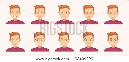 set of Avatars with expression. Joy, laughter, sorrow, sadness, anger, rage, surprise, shock, crying - stock vector illustrations isolated from background