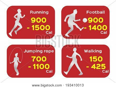 calorie and exercise vector on white background