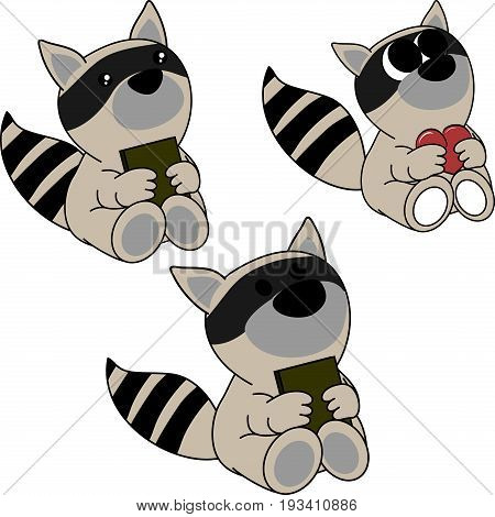 lovely cute little baby raccoon cartoon set in vector format very easy to edit