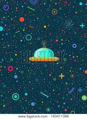 Space robots postcard. Retro style postcard. UFO.