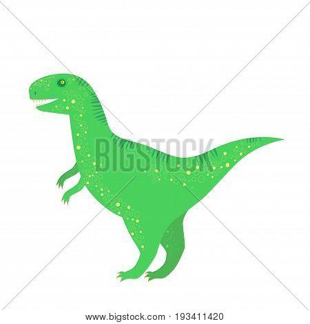 Green dinosaur isolated on white. Tyrannosaurus icon.