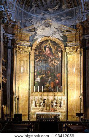 ROME, ITALY - SEPTEMBER 02: Altar of Chiesa di San Luigi dei Francesi - Church of St Louis of the French, Rome, Italy on September 02, 2016.