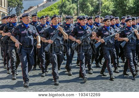 ROME ITALY - JUNE 2 2017: Military parade at Italian National Day. Carabinieri in formation. Picture is taken between Piazza Venezia and Teatro di Marcello.