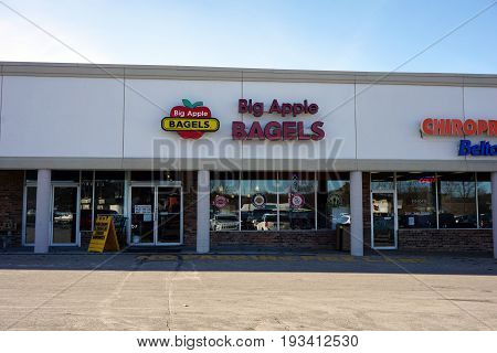 BAY VIEW, MICHIGAN / UNITED STATES - NOVEMBER 26, 2016: One may eat bagels and sandwiches, and drink coffee, at Big Apple Bagels.