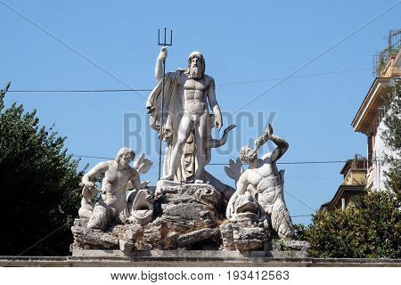 ROME, ITALY - SEPTEMBER 03: Statues on the Fountain of Neptune, Piazza del Popolo in Rome, Italy on September 03, 2016.