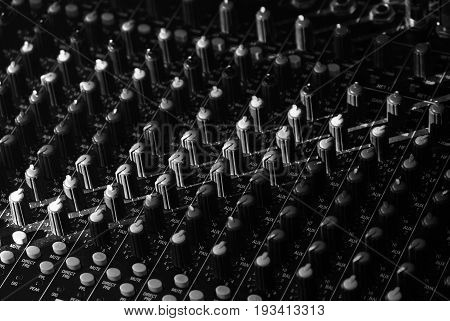Mixing console for Studio concert hall stadium. Macro shooting