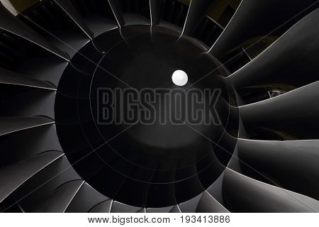 The fan blades of modern turbofan engines.