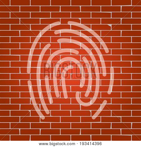Fingerprint sign illustration. Vector. Whitish icon on brick wall as background.
