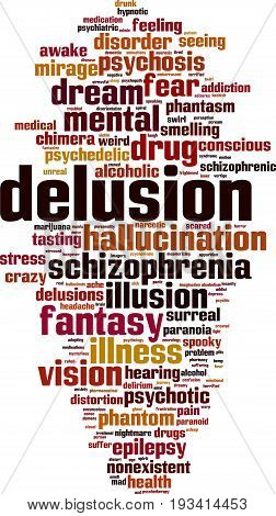 Delusion word cloud concept. Vector illustration on white