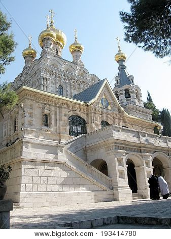 General view of the Russian orthodox Church St. Maria Magdalena in Jerusalem Israel