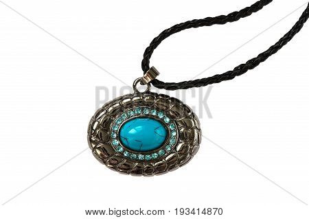 Pendant with blue stone isolated on white. The turquoise stone. Pendant on black leather cord.