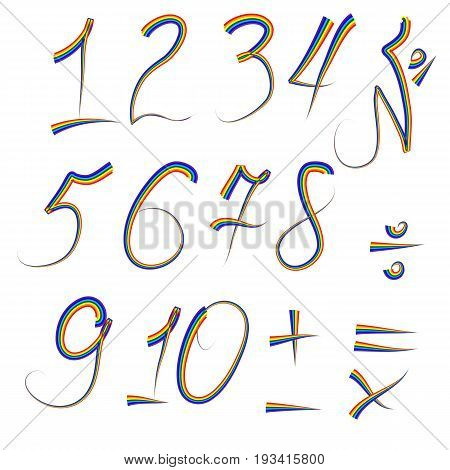 A set of digits from one to ten written in an iridescent outline, plus, minus, divide, multiply, equals. Rainbow, poster for preschoolers