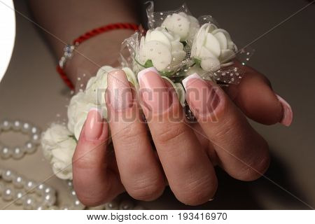French Manicure Design With Flowers