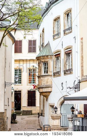 Street view with old buildings in Luxembourg city