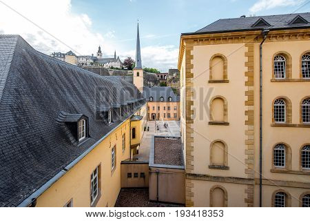 View on the Neumunster abbey with saint Johns church in Luxembourg