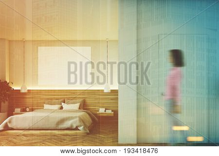 Wooden Bathroom With A Poster, Front, Woman