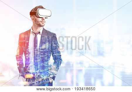 Front view of a bearded man wearing a suit and VR glasses and standing in an office with panoramic windows. Night cityscape. Toned image double exposure mock up