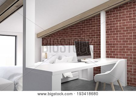 Brick attic bedroom with a home office a concrete floor a table with a computer and a white bed. 3d rendering mock up