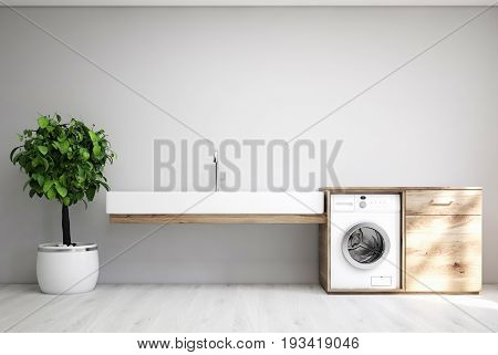 Gray laundry room interior with a sink a washing machine a tree in a pot and a cabinet. 3d rendering mock up