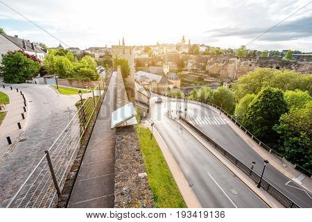 Top view on the Grund district in Luxembourg city