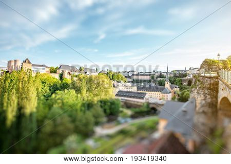 Sunset view on the Grund district in Luxembourg city