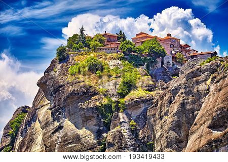 Holy Monastery Of Grand Meteoran In Meteora Mountains, Thessaly,