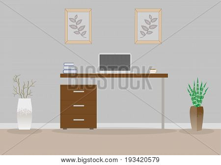 Office in loft style on a gray background. Vector illustration. Table with drawers,decorative branches and a succulent in the beautiful vases floor, cute paintings. Cup with coffee, laptop