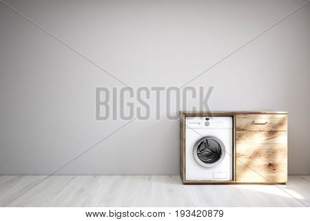 Laundry room interior with a white wooden floor a gray wall a built in washing machine inside a wooden cabinet. 3d rendering mock up
