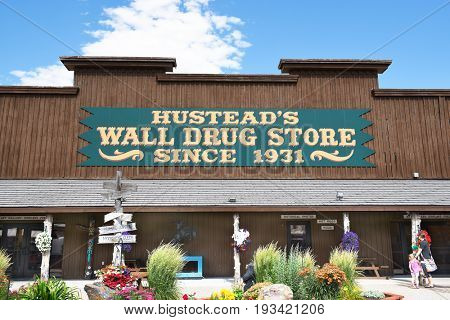 WALL- SOUTH DAKOTA - JUNE 22, 2017: Hustead's Wall Drug. The tourist attraction has grown to be a favorite stop for travelers along Interstate 90 drawing over 2 million visitors a year.