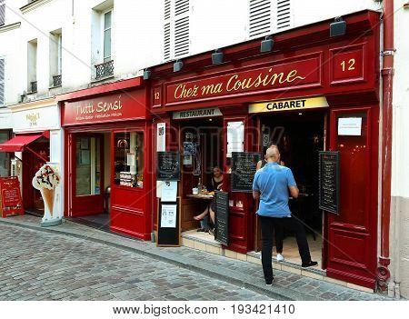 PARIS , France- June 01, 2017: View of typical cafe Chez ma cuisine in Montmartre area , most popular destinations in Paris.