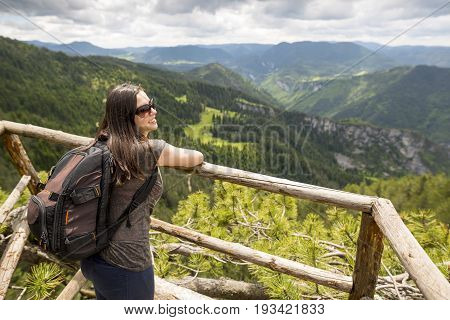 Wooden Bridge Viewing Side Young Woman