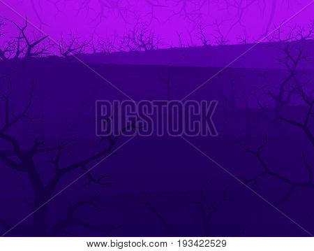Purple light dark shadow forest stylized Halloween background 3d illustration horizontal