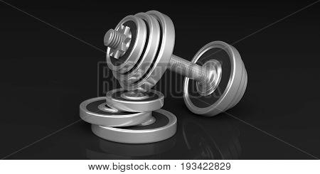 Dumbbell On Black Background. 3D Illustration
