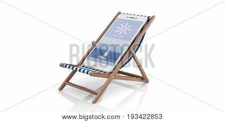 Summer vacation. Deck chair and a smartphone - white background. 3d illustration
