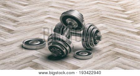 Dumbbells On The Floor - Tiles Background. 3D Illustration