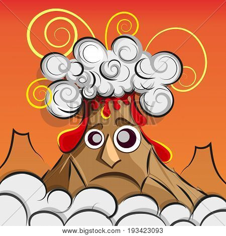 Vector Illustration of a volcano erupting art