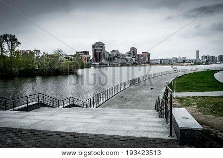 Embankment of the Kazan River in Kazan Russia. Urban High Contrast Desaturated Look. Cross processed photo