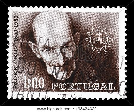 PORTUGAL - CIRCA 1960 : Cancelled postage stamp printed by Portugal, that shows portrait of Padre Cruz.