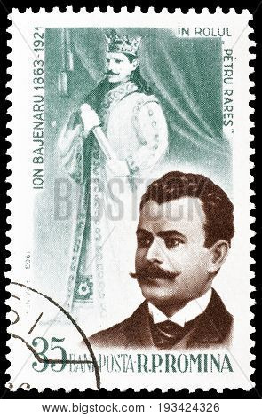 ROMANIA - CIRCA 1963 : Cancelled postage stamp printed by Romania, that shows Ion Bajenaru.