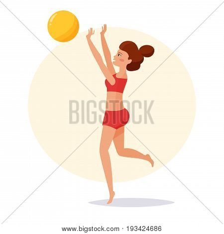 Girl playing beach volleyball. Isolated art on white background. Vector. Cartoon. Flat