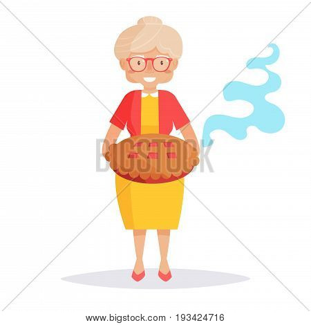 Old lady with a pie. Isolated art on white background. Vector. Cartoon. Flat