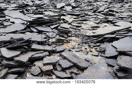 old broken asphalt in the city. road. earthquake, quake, temblor
