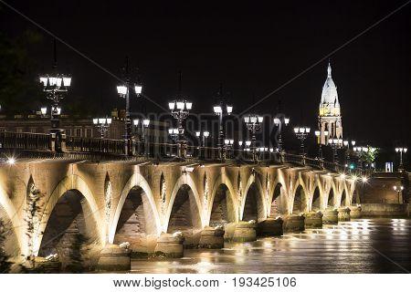 Pont de Pierre (Stone Bridge) at night, Bordeaux, France