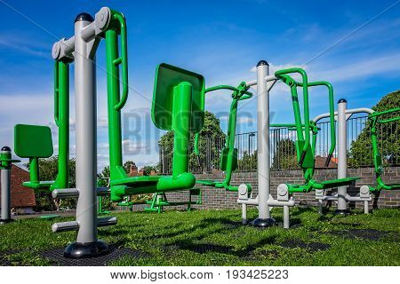 New empty outdoor exercise equipment in one of London suburbs
