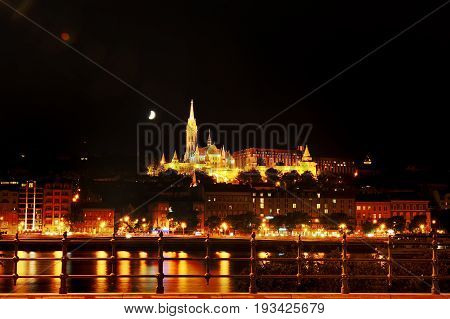 Budapest Hungary - river Danube church of St. Matthias and Fisherman's Bastion scenic view at night