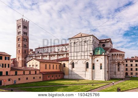 Facade and bell tower of Lucca Cathedral of St. Martin Tuscany Ital