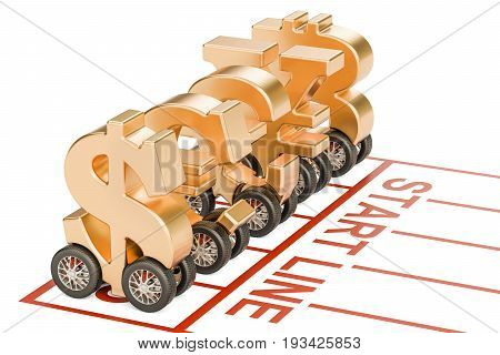 global currencies with car wheels on the start line financial concept. 3D rendering