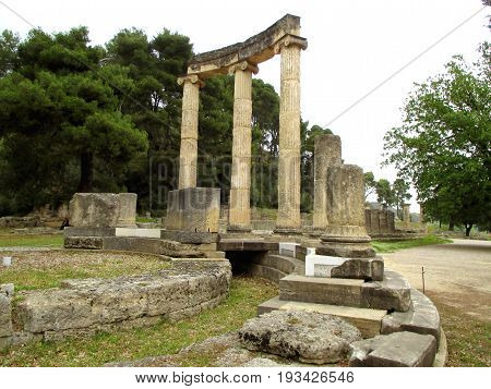 The Philippeion, ancient Greek sanctuary erected by Philip II, King of Macedonia, Olympia Archaeological Site, Peloponnese peninsula, Greece