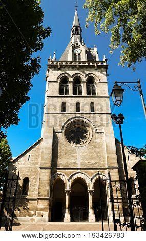 The Saint Nicolas Catholic church, Parisian region, Maisons Laffitte city, France.
