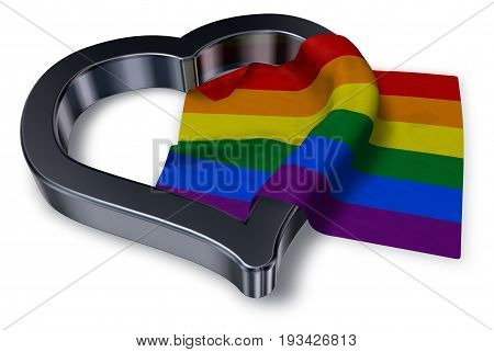 rainbow flag and heart symbol - 3d rendering